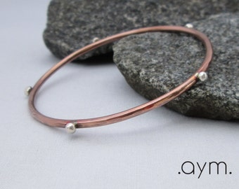 silver studded copper bangle bracelet, mixed metal stacking bangle, hand forged, gift for her, wife gift, girlfriend gift, daughter gift