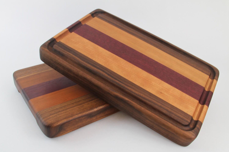 Wood Edged Board ~ Handcrafted wood cutting board edge grain walnut cherry