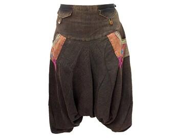Boho Hippie Baggy Gypsy Yoga Harem 4-Pocket Drop Crotch Cotton Pants (F0900)