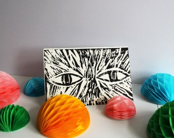 Cat lino print, Cat lino cut, Lino cutting, Lino printing, Cat print, Cat eyes lino print, Cat eyes lino cut, Block print, Relief print