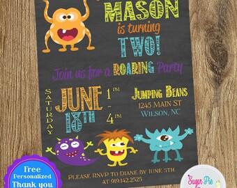Lil Monster Birthday Party Invitation | Birthday Party Invitation | Birthday Party Invite | Printable Birthday Party Invitation | Birthday