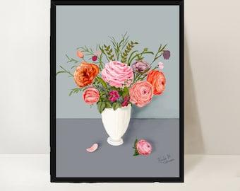 Peonies original print. Digital download printable. Floral still-life art print.