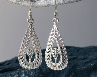 Sterling silver boho earrings, Boho style earrings, Ethnic silver earrings, Silver boho jewellery, Silver jewelry, Silver earrings (ER11)