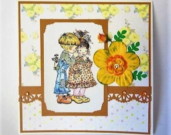 Brown and Yellow Card, Fall Card, Flower Card, Girly Card, Birthday Card, Greeting Card, Thank You Card, Pastel Card, Fall Card, Love Card