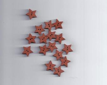 10 Pcs 2 Holes Brown Wooden Star Shape Button Craft Scrapbooking 19mmx19mm (72)