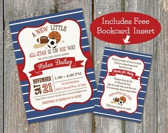 Sports Baby Shower Invitation and Bookcard Combo