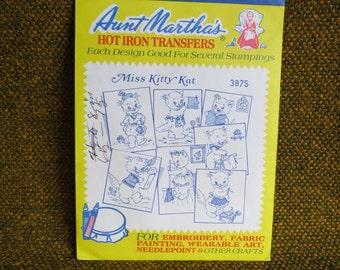 Aunt Martha's Iron on Transfers Miss Kitty Kat 3875