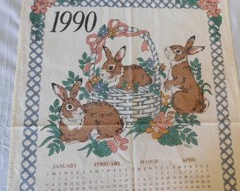 Vintage 1990 Kitchen Calendar Dish Towel Bunnies Rabbits 100% Cotton