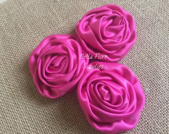 Hot Pink Satin Rolled Rosette Flowers, 3 inch, DIY headband, wholesale satin rosette flowers, satin flower embellishment