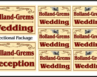 "Custom Wedding Sign Package: 2 large (18x24""), 6 directionals (12x18""). Free Shipping"
