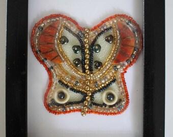 Beaded butterfly, using vintage earrings, orange and gold, framed