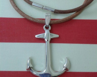 925 sterling silver anchor charm /silver and  leather/925 silver anchor necklace /anchor pendant silver /ocean necklace /ocean jewelry