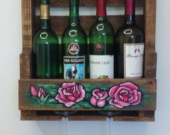 Wood Wine Wall Rack Rose Decoration Rustic