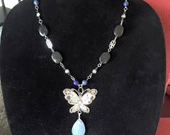 Blue Chalcedony, Filigree butterfly necklace