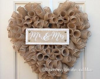 Wedding Wreath, Bridal Wreath, Mr. And Mrs. Wreath, Heart Wreath, Burlap Wedding Wreath, Bridal Shower Decor, Newlywed Wreath