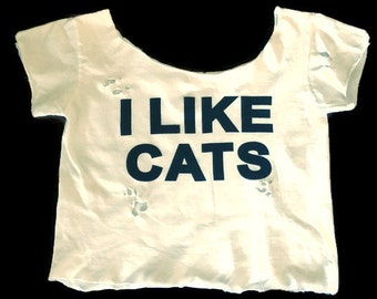 Distressed off the shoulder Crop Top - I Like Cats