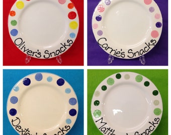 Personalised Spotty Plate - blue