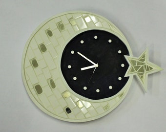 Moon Mosaic clock hand made by Chraity Poetry in Wood