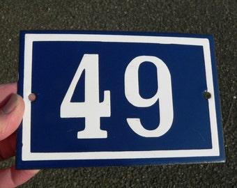 Vintage French dark blue and white enamel house number 49    -  gate No 49.