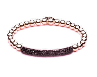 Limited Pavé tube ball bracelet • Rosé gold / black