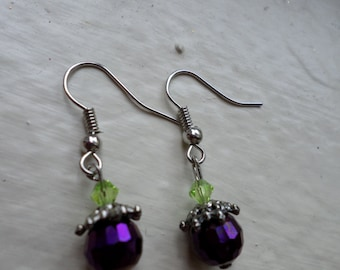 Purple/Green Drop Earrings