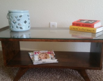 Mid Century Modern coffee table. Glass coffee table.  Danish inspired coffee table.