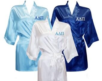 Alpha Delta Pi Satin Robe, ADPi Satin Robe, Sorority Letter Satin Robe
