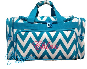 Personalized Duffle Bag/ Turquoise Chevron/ Overnight Bag
