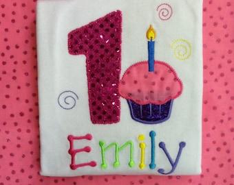 1st Birthday Cupcake Shirt or Bodysuit, Baby Girl Birthday