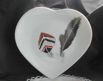 Set of Two Porcelaine de Limoges France Heart Plates Feather Design