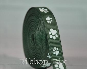 "3/8"" 5/8"" 7/8"" Forest Green & White Paw Print Grosgrain Ribbon - US Designer Paws - Dog Collar Leash - Grooming Bows - Animal School Gift"