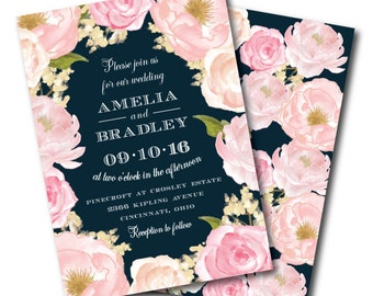 navy floral wedding invitation printable wedding invitation navy and pink wedding invitation floral - Navy And Blush Wedding Invitations