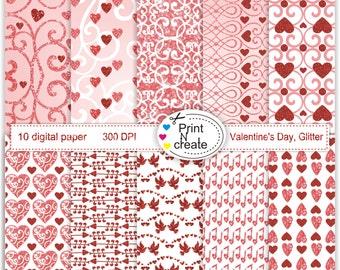 Valentine's Day, Glitter paper, paper pad, scrapbooking paper, digi paper, digital paper heart, SALE