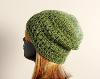 Slightly slouchy beanie hat, crochet, 100 % wool