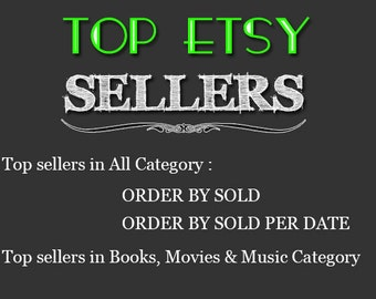Top Etsy sellers Top selling shops Most popular shop Best sellers Top sellers in Books, Movies & Music Category Top Sellers all Category