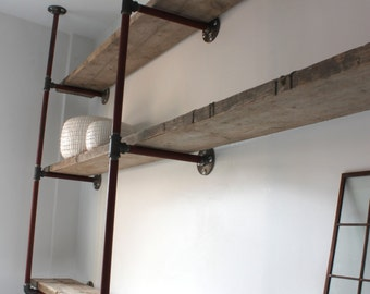 Rachael Bespoke Reclaimed Scaffolding Boards and Steel Pipe Ceiling Hung and Wall Mounted Shelving/Bookcase - www.urbangrain.co.uk