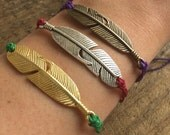 Feather Multi-Strand Waxed Polyester Cord Bracelet  Choice of Silver, Bronze or Gold finish