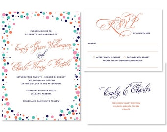 Confetti Wedding Invitation Set (priced per 25)