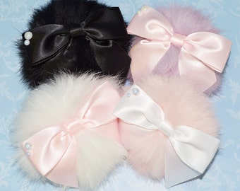 Cute fluffy pompom 2-way Clip/Brooch with bow