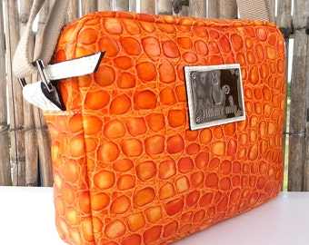 Orange Leather shoulder bag. Jimmy Miu. Shoulder leather bag women