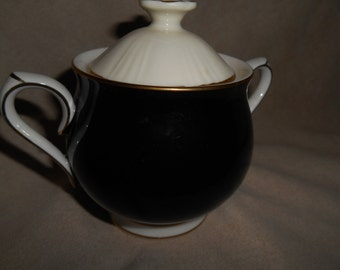 Noritake IVORY and EBONY Sugar Bowl with Lid ~ Noritake Ivory China Made in Japan
