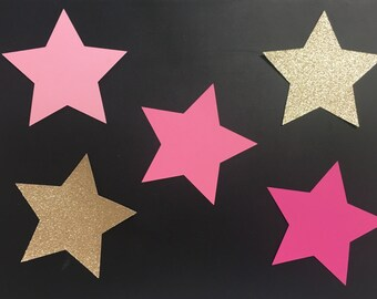 24 Gold Glitter and Pink Star Cutouts - Star Die Cuts- DIY Craft Projects- Star Tags