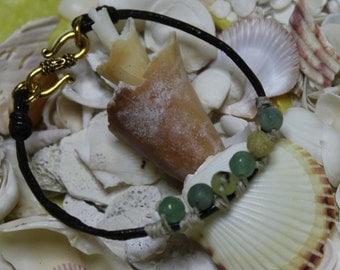 Aventurine jade and leather Bracelet