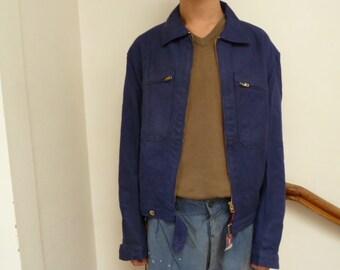 1940s 1950s vintage french workwear jacket indigo bomber, unworn, NOS
