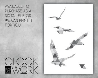 Wall Art, Prints, Home Decor, Inspirational Quotes, Nursery Prints, Printed or Digital File Available, Geometric Birds