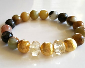 Amazonite Stacking Bracelet with Citrine Rondelles and 24K Gold Vermeil Beads Boho Preppy