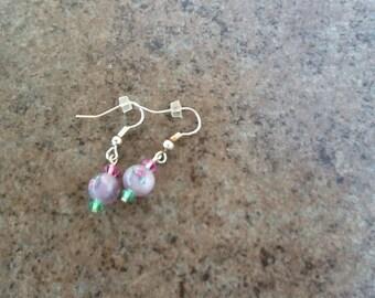 Lavender Lampwork bead Earrings