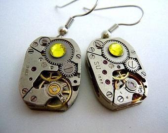 Bright Yellow Watch Gear Earrings