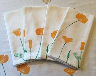 Handprinted Napkin Set - California Poppy Meadow
