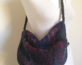 80's embroidered hobo bag with braided strap